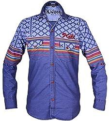 Kidzee 100% Cotton Blue Color Designer Striped Shirt