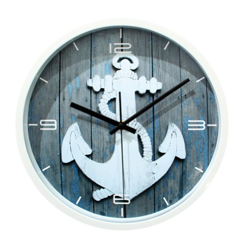 ZLYC 12 Inch Vintage European Style Anchor Nautical No Ticking Quartz Round Wall Clock Home Art Decor