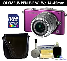 Olympus PEN E-PM1 w/ 14-42mm Lens (Purple) Value Kit