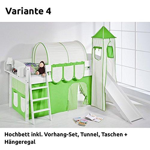 Hochbett Spielbett IDA Grün Beige, mit Turm, Rutsche und Vorhang, weiß, Variante 4 bestellen