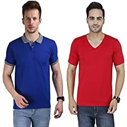 Stylogue Polo & V Neck T Shirts Combo for Men's (Pack of 2)