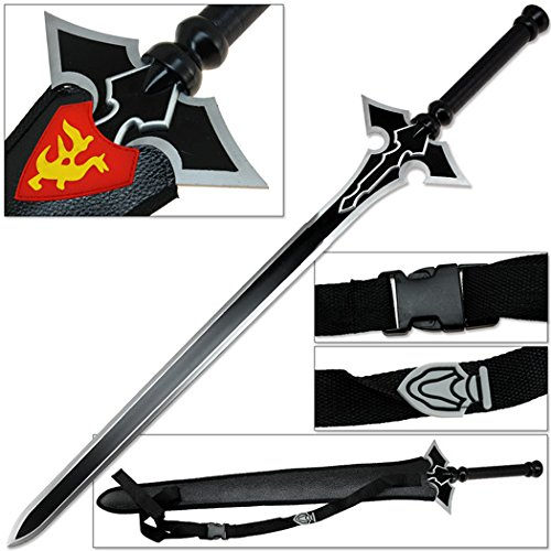 Dark Art Dragon Version Online Quick Release Sword Black w Red & Yellow Emblem