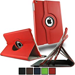 Premium Convertible Folio Case Cover Sleep / Wake Feature for iPad Air / iPad 5 by Bolden Design (Red)