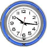 "Trademark Gameroom Blue Chrome Double Ring Neon Clock, 14"""