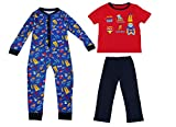New Boys Superhero Pyjamas + Onesie Full Length 3 Piece Set Kids Xmas Gift Size UK 1-8 Years (2-3 Years, 3 Piece - Onesie + Pj Set)