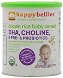 Happy Bellies Organic Baby Cereals with DHA Plus Pre and Probiotics, Brown Rice, 7-Ounce Canisters (Pack of 6)