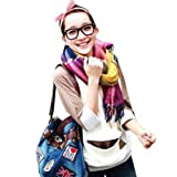 Ashcbus Girls Womens Elegant Colorful tartan Plaid tassels Cashmere wool soft Scarf Shawl