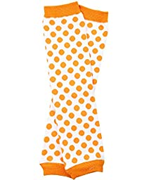 Halloween baby & toddler Leg Warmers for Girls & Boys in various styles (Newborn (up to 12 pounds), White with Orange Dots)