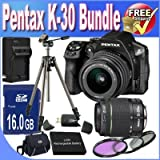 Pentax K-30 Digital Camera with 18-55mm AL and 50-200mm AL Lens Kit (Black) + 16GB SDHC Class 10 Memory Card + Extended Life Battery + External Rapid Travel Quick-Charger + USB Card Reader + Memory Card Wallet + Shock Proof Deluxe Case + 3 Piece Professional Filter Kit + Professional Full Size Tripod + Accessory Saver Bundle!