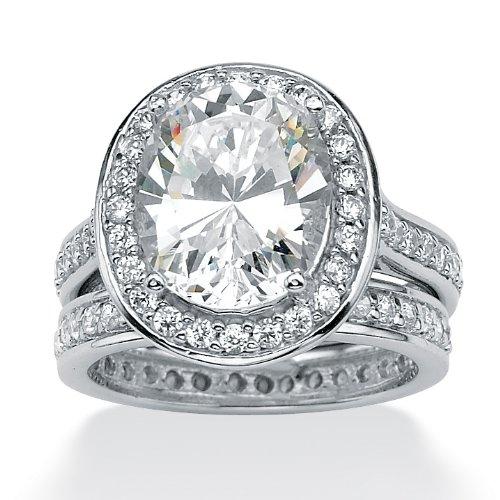 Palm Beach Jewelry - Platinum on Sterling Silver Oval & Round Zirconia Eternity Wedding Ring Set - R