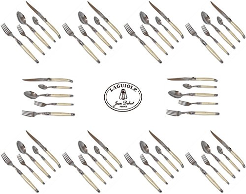 French Laguiole Dubost - Complete Flatware Set For 10 People (50 Pcs) - Pearl Color - Stainless Steel (Official Authentic Laguiole Jean Dubost - Full Family Quality White Colour Dinner Table Cutlery Setting - With Original Certificate Of Authenticity) - D
