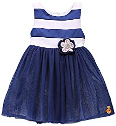 Little Muffet Girls' Regular Fit Dress (LM10015-4-5 Years, Blue and Pink, 4-5 Years)