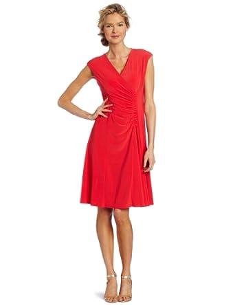 Evan Picone Women's Mj Cap Sleeve Side Casing Dress, Hibiscus, 4