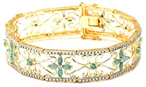 18k Yellow Gold Plated Sterling Silver Emerald and Diamond Accent Bracelet, 7.25