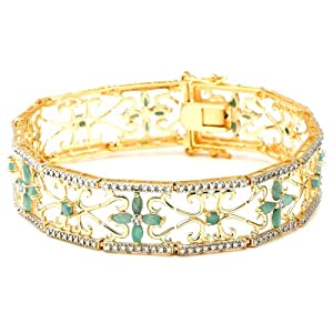 18k Yellow Gold Plated Sterling Silver Emerald and Diamond Accent Bracelet, 7.25""