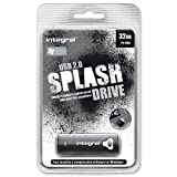 Integral Splash Flash Drive USB 2.0 with Software for MacOS9 or Windows 32GB Black Ref INFD32GBSPLBK