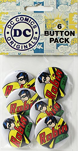 Button set DC Comics Originals Robin 6 Individual Loose Buttons, 1.25""