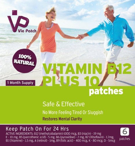 Vie Patch - Vitamin B12 Plus 10 - 6 Patches. No More Feeling Tired Or Sluggish. Methylcobalamin. 1 Month Supply