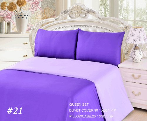 Tache 3 Piece 100% Cotton Reversible Purple Lavender Dream Duvet Set, Queen front-1033762
