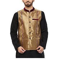 Yepme Men's Gold Blended Nehru Jackets - YPMNJKT0034_S