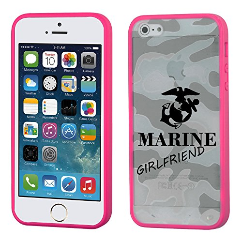 Iphone 5/5S Glassy Camo Marine Girlfriend/Hot Pink Gummy Cover - Lifetime Warranty