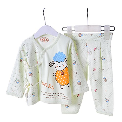 PAPAkids Unisex Baby Kids Button Down Cotton Underwear Kimono 2pcs Bodysuit Set