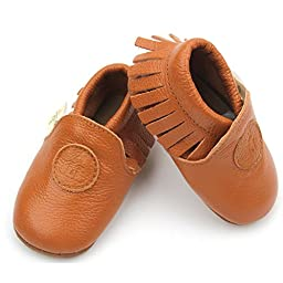 Liv & Leo Baby Boys Girls Moccasins Soft Sole Crib Shoes Slip-on Leather (18-24 Months, Brown)