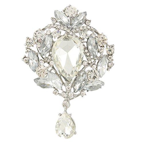EVER FAITH Bridal Silver-Tone Leaf Tear Drop Clear Austrian Crystal Brooch Pendant