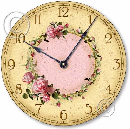 Item C6032 Shabby Chic Pink Roses Clock