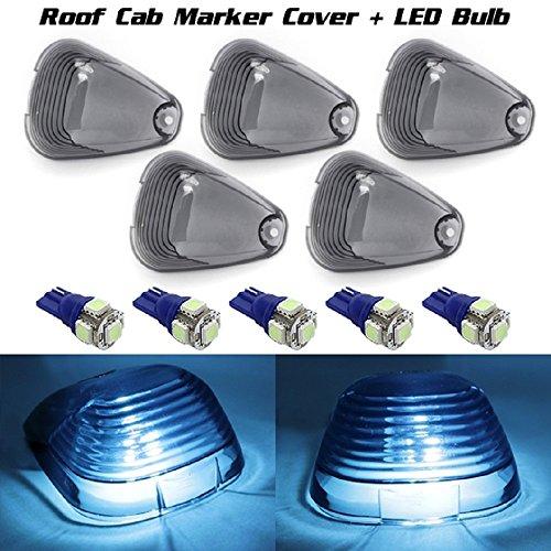 Partsam 5X Smoke Roof Running Light Cab Marker Cover W/168 T10 Ice Blue 5050 Led Bulb For Ford F-250 F-350 F-450 F-550 E-150 E-250 E-350 E-450 E-550