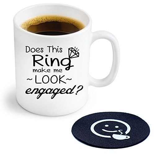 Does This Ring Make Me Look Engaged? Novelty Coffee or Tea Mug and Coaster - 11 oz Ceramic Mug Ships in a White Gift Box (Oak Tag Poster Board compare prices)