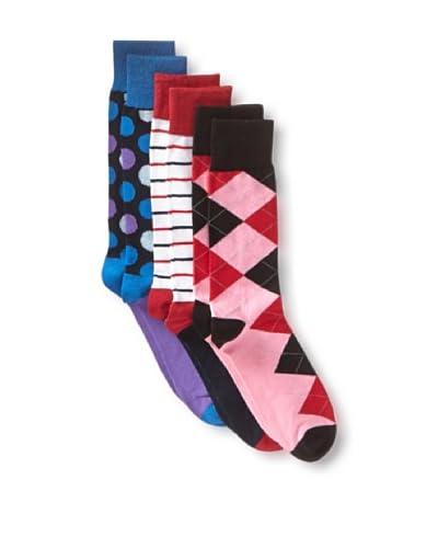 English Laundry Men's Fancy Assorteds - 3 Pack Socks