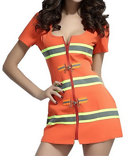 Smile YKK Fire Fighter Stripes Mini Dress Costume Cosplay Set
