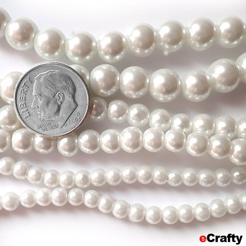 Glass Pearls Lustre Beads Mega Mix 4-8mm 90&#8243; 7.5 Ft Ivory