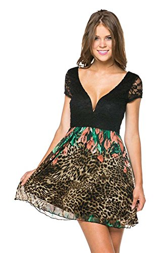 Leopard Floral Lace Short Sleeve Deep V-Neck Cocktail Dress U.S.A - S