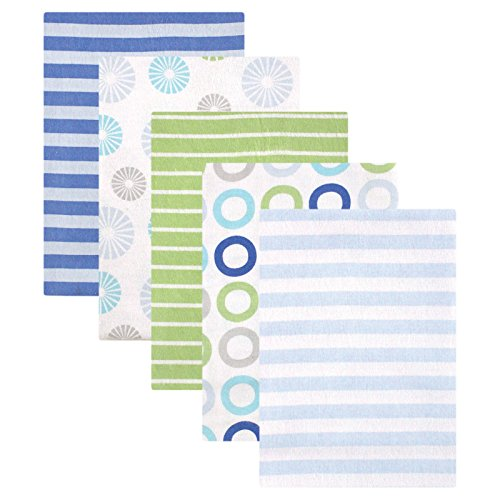 Luvable Friends Flannel Receiving Blankets, Blue Pinwheel, 5 Count