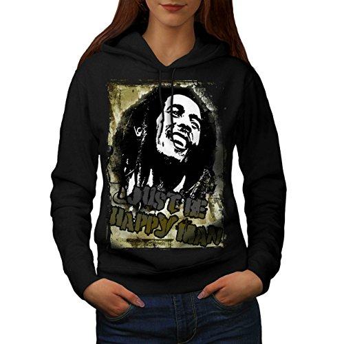 Bob Marley Contento uomo selvaggio Da donna Nuovo Nero L Felpa Con Cappuccio | Wellcoda