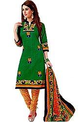 Divisha Fashion Green and Orange Cotton Printed Churiddar Suit with Dupatta