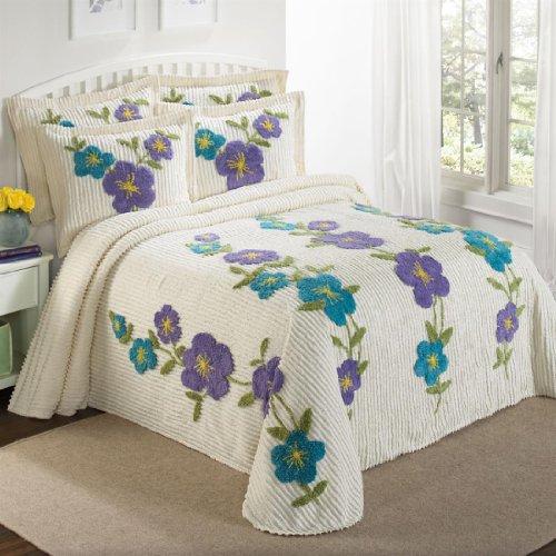 Spring Floral Vine Chenille Bedspread (Blue Purple,Twin) front-120378