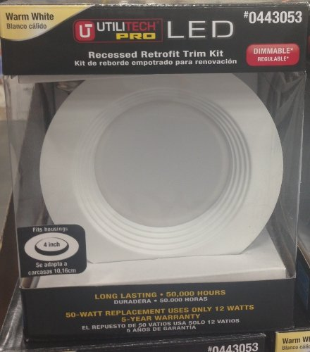 Utilitech Pro White 4-In Integrated Led Remodel Recessed Lighting Kit
