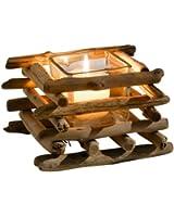 Bougeoir en croisillons de bois naturel