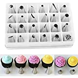 Aenmil® Brand New 24pcs Icing Piping Nozzles Pastry Tips Cake SugarCraft Decorating Tools 24 Differently Ended Icing Nozzles to Get Different Patterns
