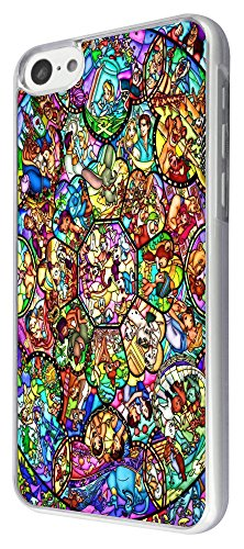 Iphone 5C All Characters Disney Stained Glass Diamond Design Case Back Cover-Clear Frame