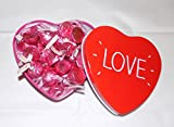 American Hershey pink caramel kisses love heart tin