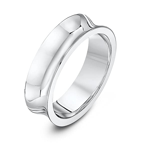 Theia Palladium 950 - Heavy Weight, Concave Shape, 6mm, Highly Polished Wedding Ring