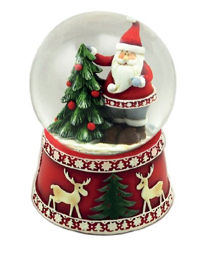 "MusicBox Kingdom 53085 Snow Globe Scandinavian Design Santa with Tree Music Box, Turns to The Melody ""White Christmas"""