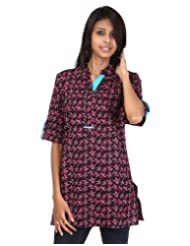 Rajrang Cotton Red, Black Screen Printed Tunic Top