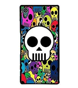 Multicolour Skulls Wallpaper 2D Hard Polycarbonate Designer Back Case Cover for Sony Xperia Z5 :: Sony Xperia Z5 Dual