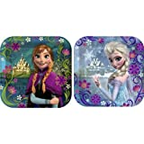 "Disneys Frozen Party 7""x7"" Square Cake/Dessert Plates, Pack of 8, Assorted"