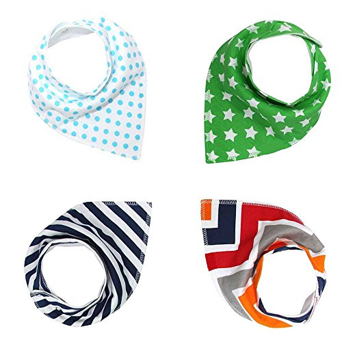 BOGZON Baby Bandana Drool Bibs For Boys/Girls, Pure/Absorbent/Organic Cotton Burp Cloths, Double Cloth, Set of 4, 4 Kinds of Patterns